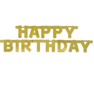 Gold Bday Deluxe Jointed Banner