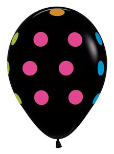 "11"" All Over Multi Polka Dot - Deluxe Black Neon Print Balloons - Pack of 50"