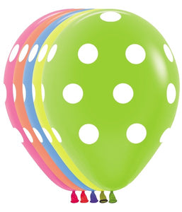 "11"" All Over Polka Dot - Neon Balloons (Pack of 50)"