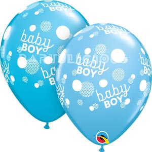 "11"" Baby Boy Blue Dots-A-Round"
