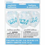 "Its a Boy Clear 12"" Balloon w/Blue Confetti"