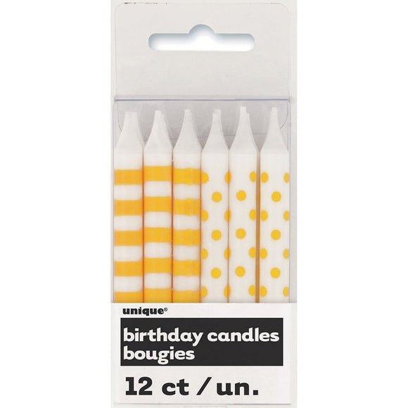 Yellow Stripes And Dot Candles