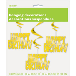 "Gold Foil ""happy Birthday"" Hanging Decoration 3/pk"