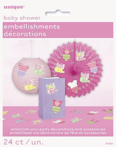 24 Pink Dots Baby Shower Party Embellishments