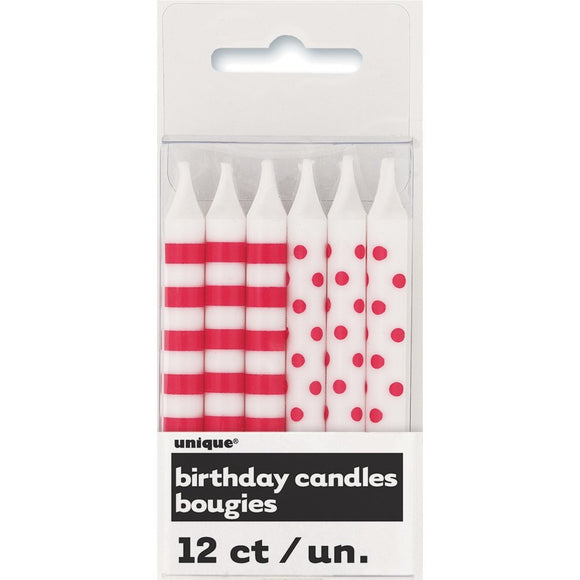 Ruby Red Stripes And Dot Candles