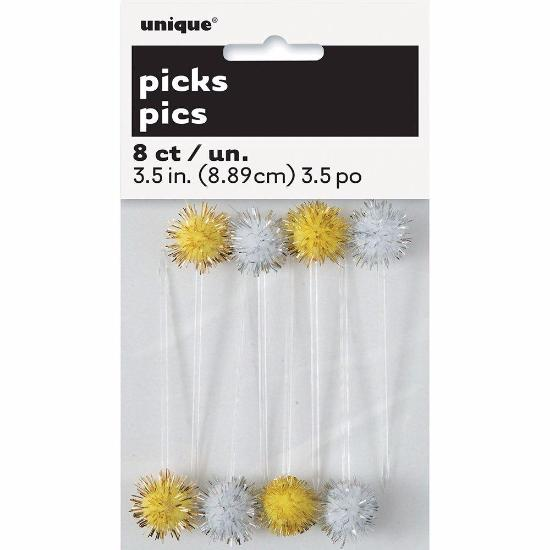Gold / Silver Pom Pom Picks