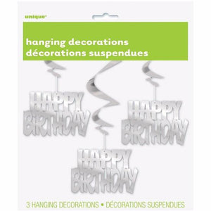 Silver Foil Happy Birthday Hanging Decorations