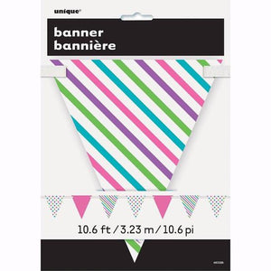 Bright Dots & Stripes Paper Flag Banner