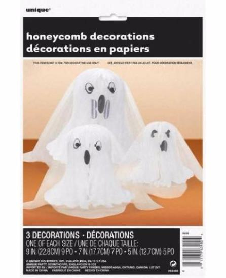Ghost Shaped Honeycomb Decoration 3/pk