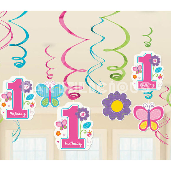 1st Birthday Girl Swirls Decor Kit 12/pk