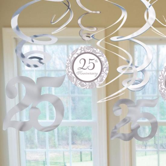 25th Anniversary Swirls Decor Kit 12/pk