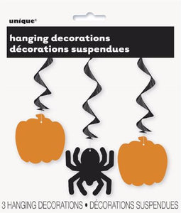 Pumpkin & Spider Hanging Swirls 3/pk