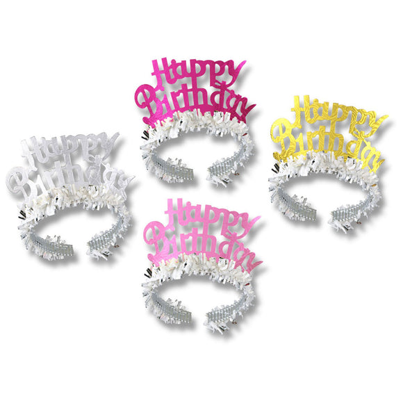 Happy Birthday Tiaras w/Fringe