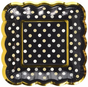 Black Gold Scallop Square Plates