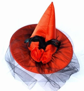 Red Witch Hat With Flower & Net