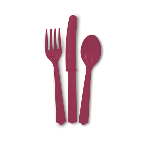 Burgundy Assorted Cutlery