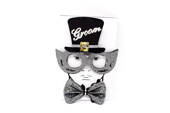 Groom Glitter Eyeglasses With Neckpiece