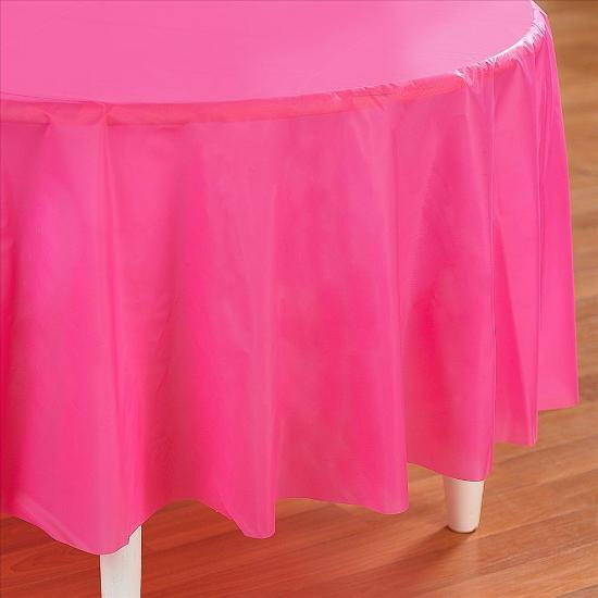 Hot Pink Round Plastic Tablecover
