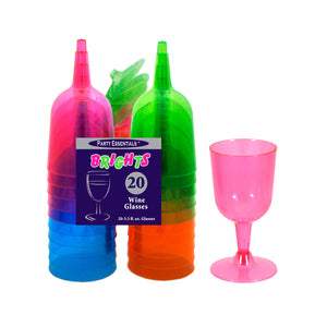 2 Piece Wine Glasses - Assorted Neon