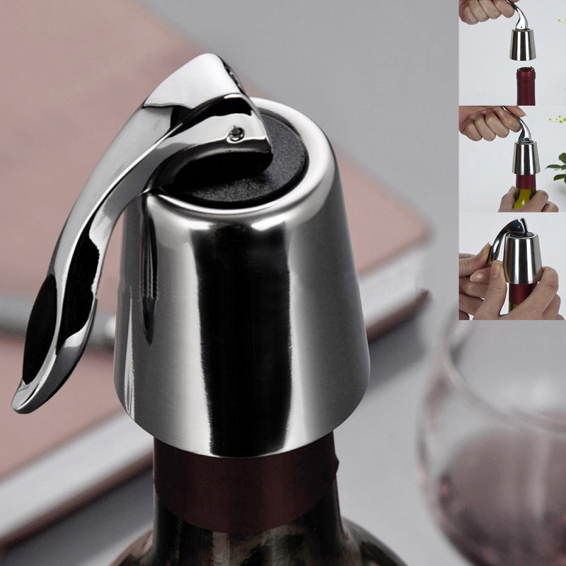 Beautiful Stainless Steel Wine Bottle Stopper with Reusable Vacuum Seal