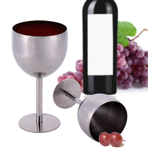 380ML High-end Brilliant Stainless Steel Wine Glass Tasting Goblet