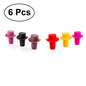 6PCS Beverage Cork Silicone Wine Stoppers Bottle Stopper Wine Bottle Cork with Hat Top (Yellow+Wine+Coffee+Red+Rosy+Black)