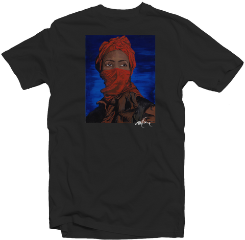 "Men's Black Fatbol Crew Neck Tee Featuring Chali 2na ""Red Mask"" - fatbol"