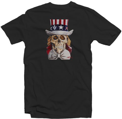 "Men's Black Fatbol Crew Neck Tee Featuring Chali 2na ""Uncle Sam"" - fatbol"