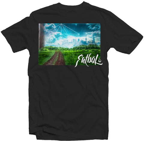 "Men's Black Fatbol Crew Neck Tee ""Chromopolis"" - fatbol"