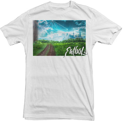 "Men's White Fatbol Crew Neck Tee ""Chromopolis"" - fatbol"