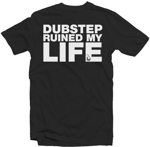 "Black Men's Fatbol Tee ""Dubstep Ruined My Life"" - White Print - fatbol"