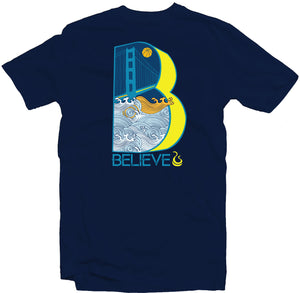 "Navy Blue Men's Fatbol Tee Featuring the Warriors Inspired Theme ""Believe"" - fatbol"