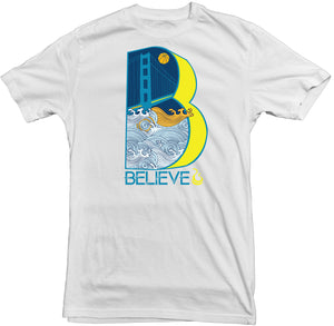 "Men's White FAtbol Crew Neck Tee ""Believe"" - fatbol"