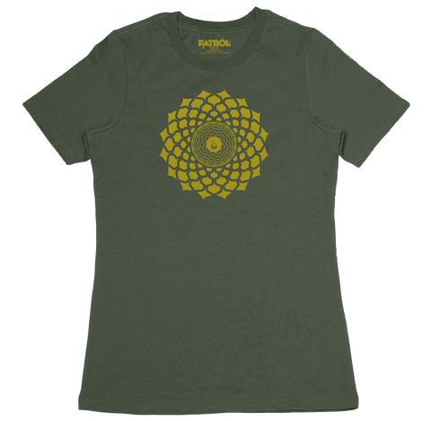 Gold Lotus Crew Tee - Army
