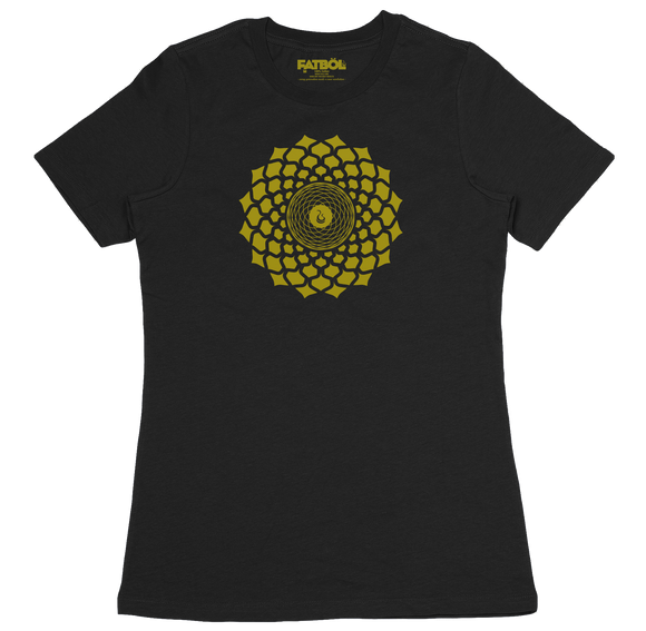 Gold Lotus Crew Tee - Black