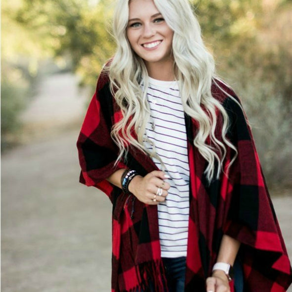Buffalo Plaid Open Cardigan