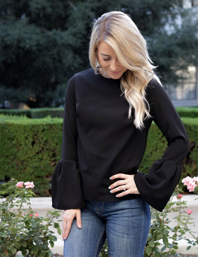 Bell Sleeve Zipper Blouse