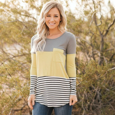 Colorblock and Stripe Contrast Top