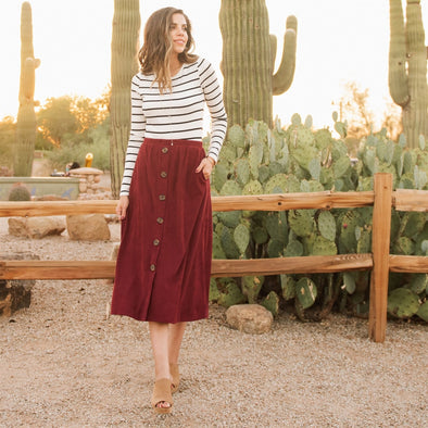 3Brunettes Corduroy Button Skirt