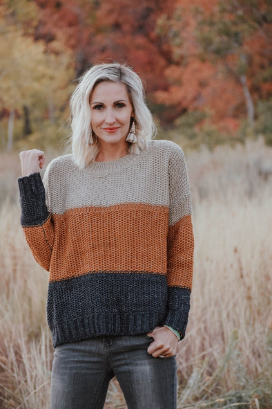 3Brunettes Cozy Colorblock Sweater