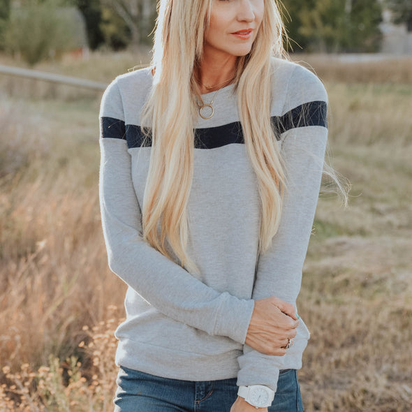 3Brunettes Cozy Accent Stripe Sweater