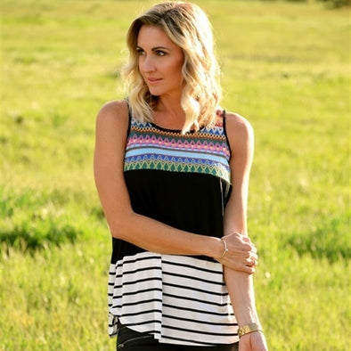 3Brunettes Crochet & Stripes Tank Top