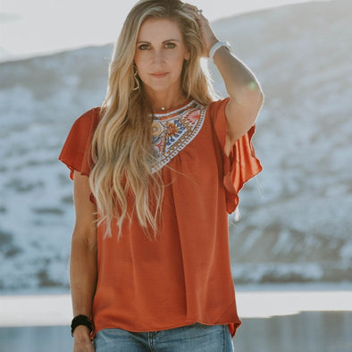 3Brunettes Embroidered Flutter Sleeve Tunic