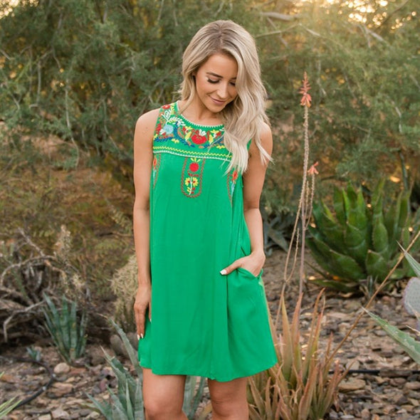 3Brunettes Embroidered Tank Dress