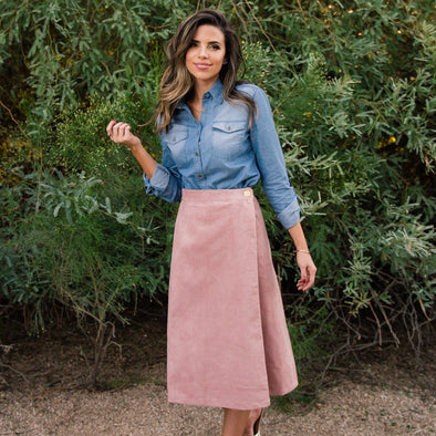 3Brunettes Faux Wrap Corduroy Skirt