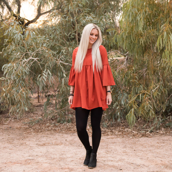 Bell Sleeve Babydoll Tunic Dress