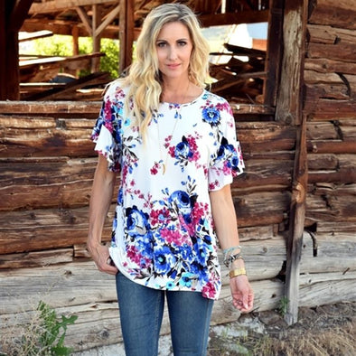 3Brunettes Floral Ruffle Sleeve Tunic