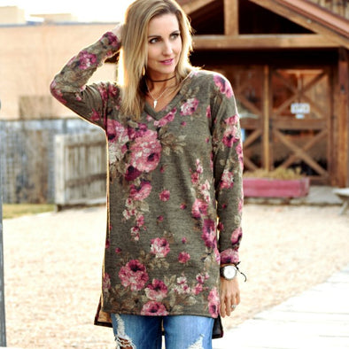 3Brunettes Floral Hi-Low Sweater