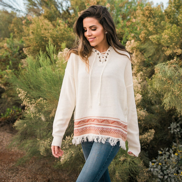 3Brunettes Fringe Trim Pattern Border Sweater