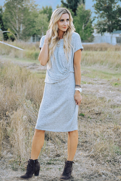 3Brunettes Heathered Wrap Dress